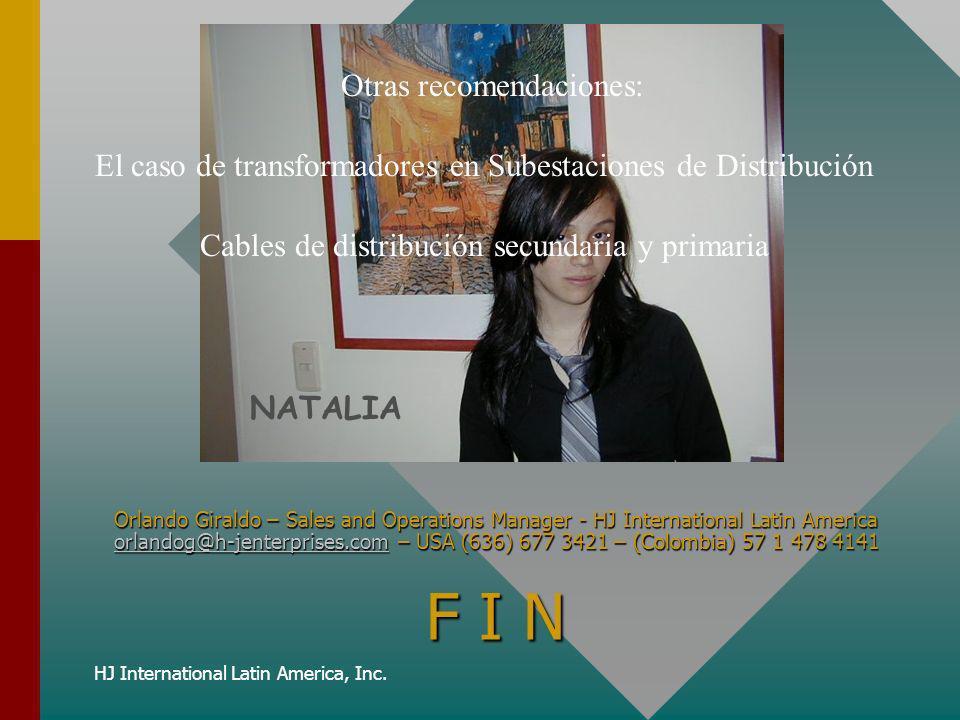 HJ International Latin America, Inc. F I N NATALIA Otras recomendaciones: El caso de transformadores en Subestaciones de Distribución Cables de distri