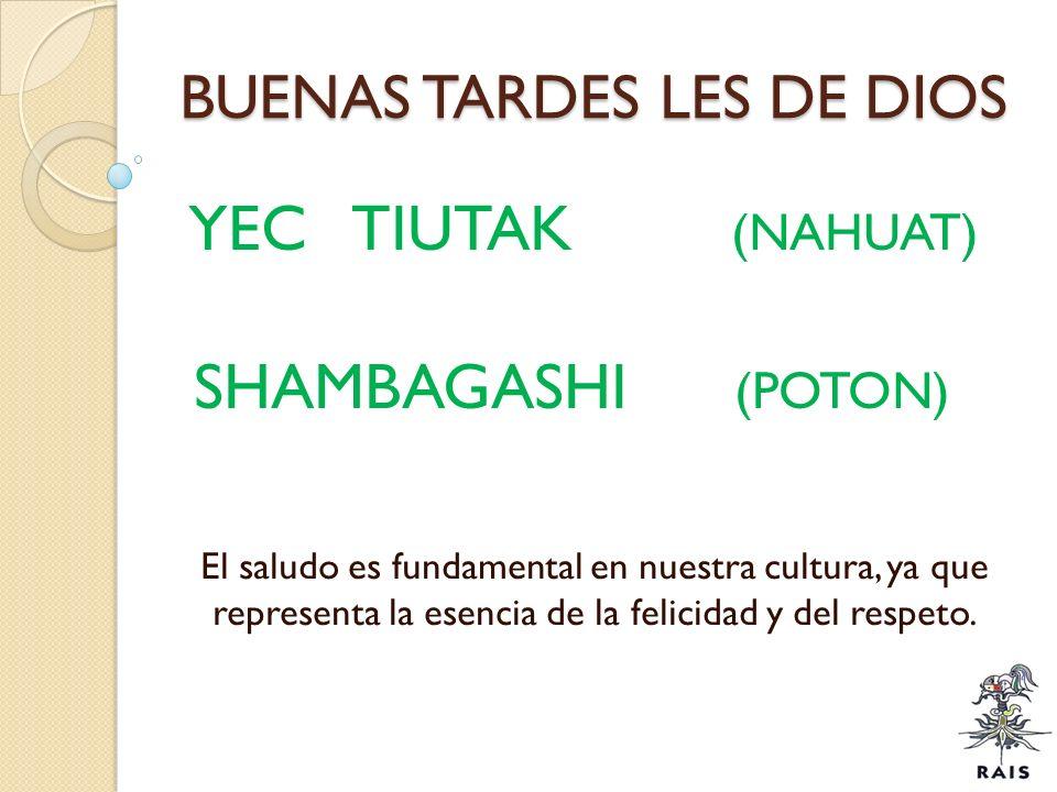 BUENAS TARDES LES DE DIOS YEC TIUTAK (NAHUAT) SHAMBAGASHI (POTON) El saludo es fundamental en nuestra cultura, ya que representa la esencia de la feli