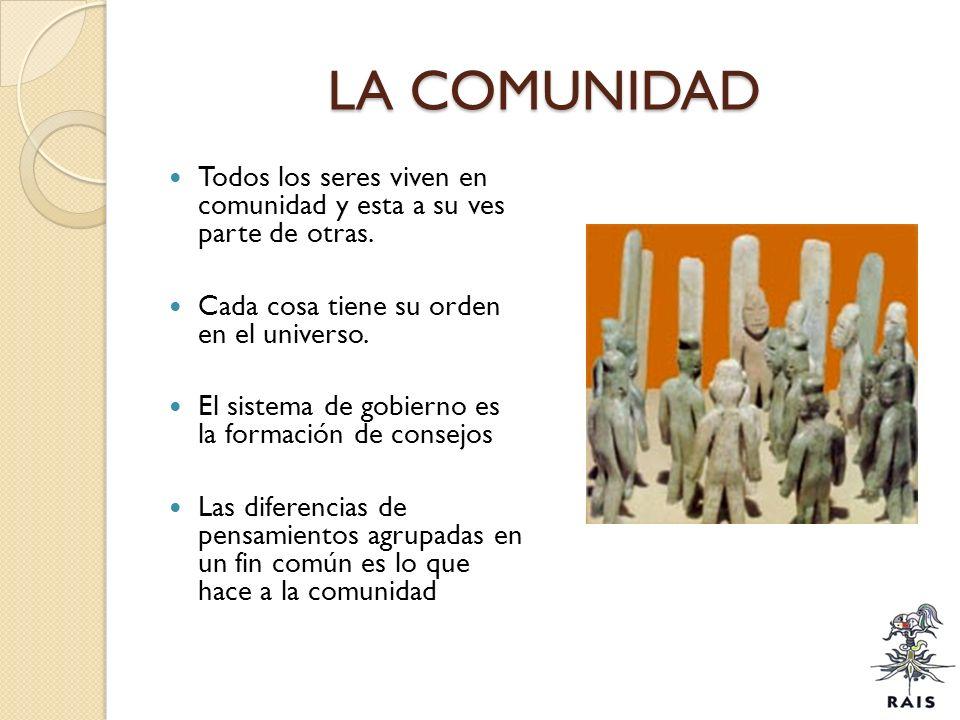 LA COMUNIDAD Todos los seres viven en comunidad y esta a su ves parte de otras. Cada cosa tiene su orden en el universo. El sistema de gobierno es la