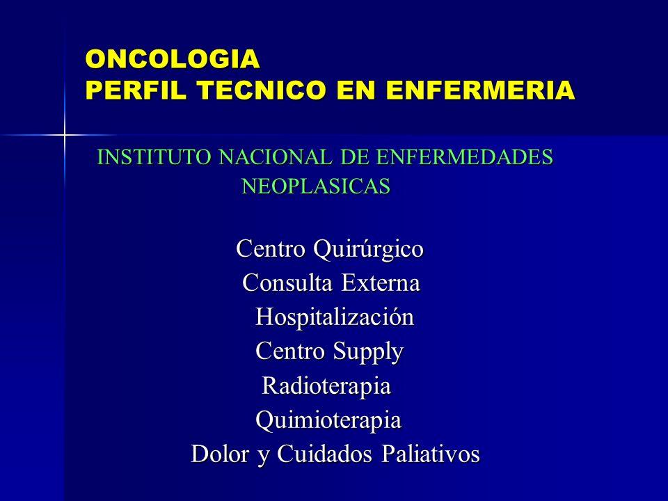 ONCOLOGIA PERFIL TECNICO EN ENFERMERIA INSTITUTO NACIONAL DE ENFERMEDADES INSTITUTO NACIONAL DE ENFERMEDADES NEOPLASICAS NEOPLASICAS Centro Quirúrgico