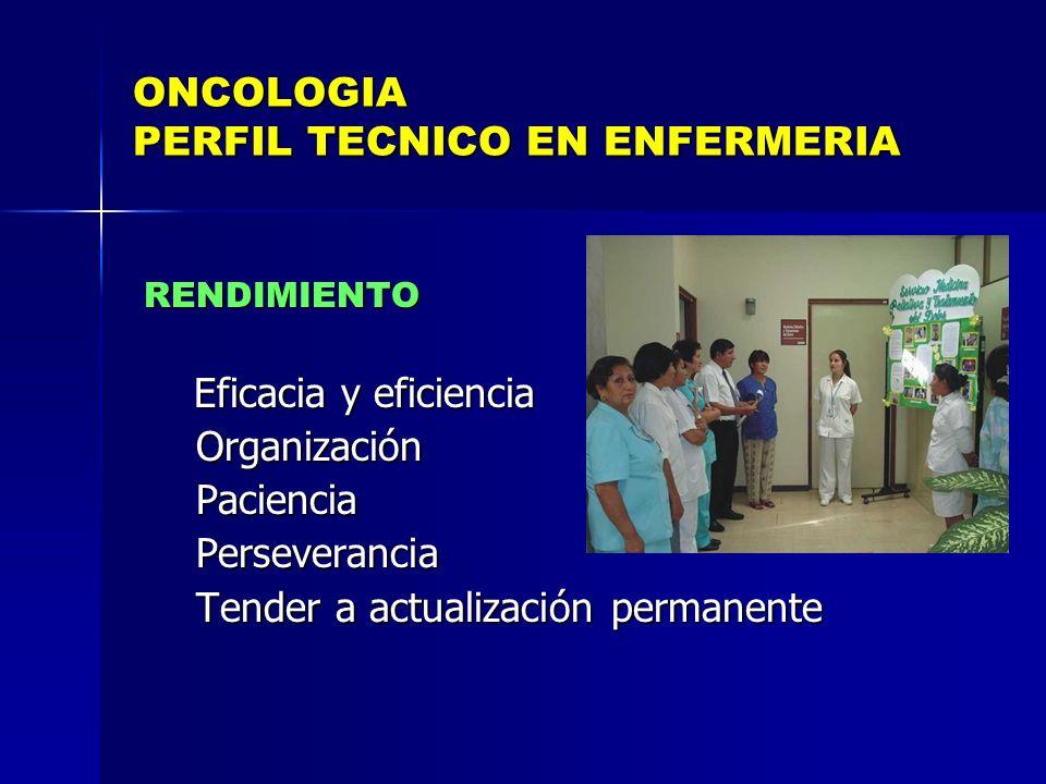 ONCOLOGIA PERFIL TECNICO EN ENFERMERIA RENDIMIENTO RENDIMIENTO Eficacia y eficiencia Eficacia y eficiencia Organización Organización Paciencia Pacienc