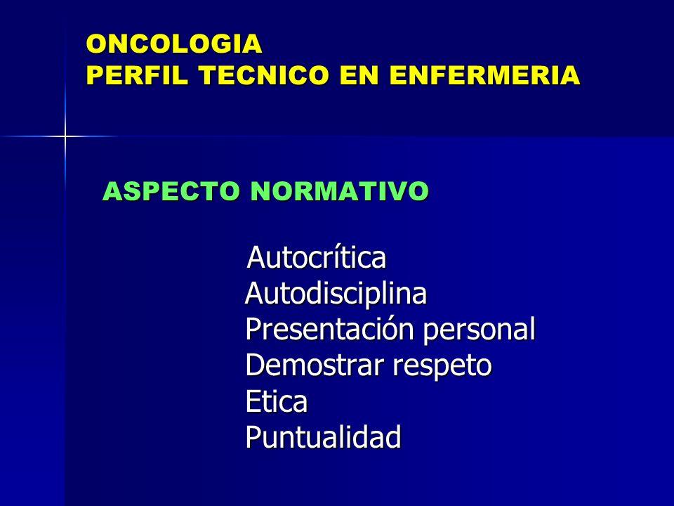 ONCOLOGIA PERFIL TECNICO EN ENFERMERIA ASPECTO NORMATIVO ASPECTO NORMATIVO Autocrítica Autocrítica Autodisciplina Autodisciplina Presentación personal