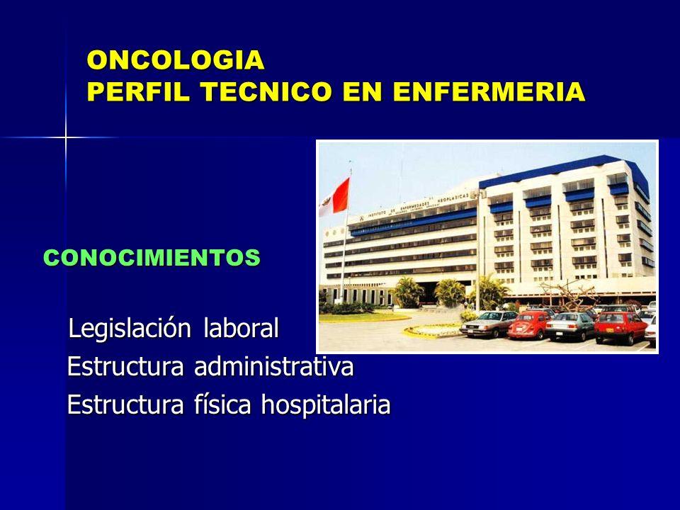 ONCOLOGIA PERFIL TECNICO EN ENFERMERIA CONOCIMIENTOS CONOCIMIENTOS Legislación laboral Legislación laboral Estructura administrativa Estructura admini
