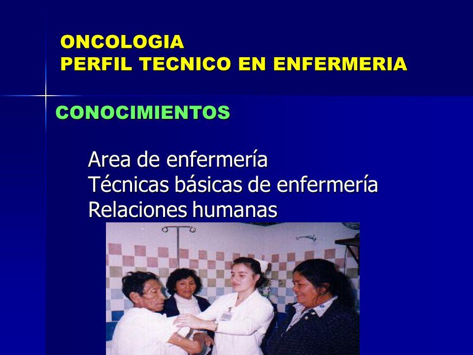 ONCOLOGIA PERFIL TECNICO EN ENFERMERIA CONOCIMIENTOS Area de enfermería Area de enfermería Técnicas básicas de enfermería Técnicas básicas de enfermer