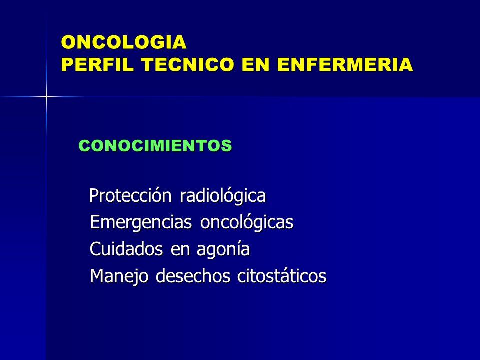 ONCOLOGIA PERFIL TECNICO EN ENFERMERIA CONOCIMIENTOS CONOCIMIENTOS Protección radiológica Protección radiológica Emergencias oncológicas Emergencias o