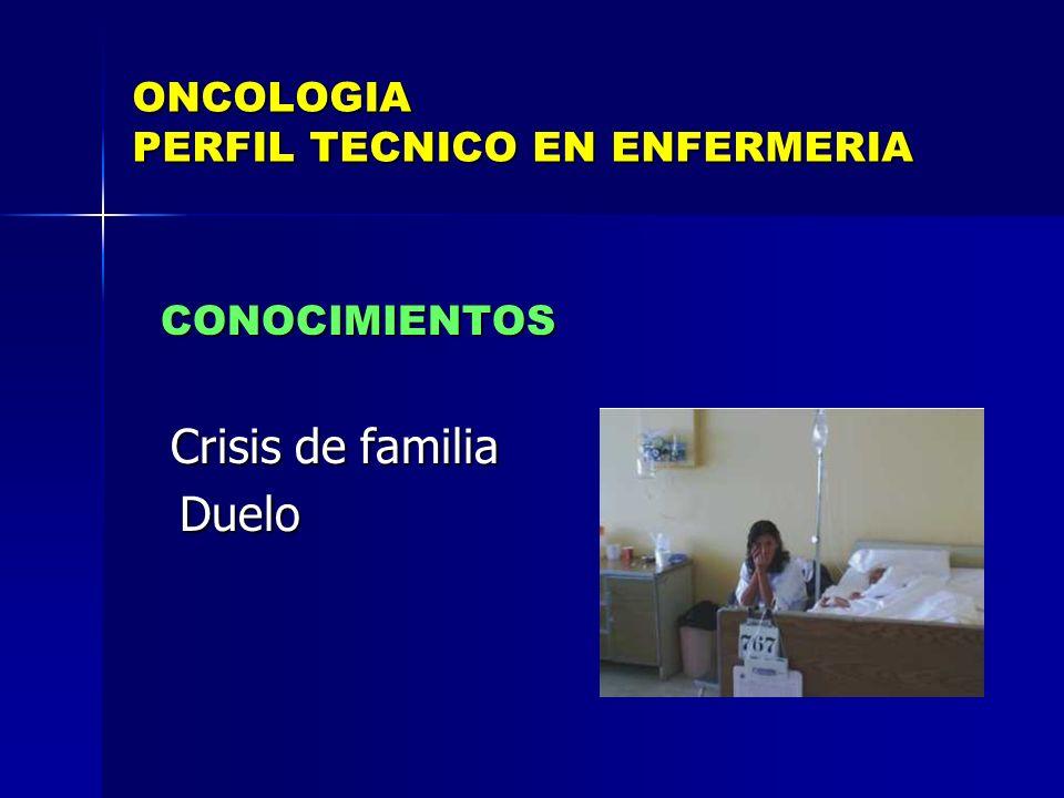 ONCOLOGIA PERFIL TECNICO EN ENFERMERIA CONOCIMIENTOS CONOCIMIENTOS Crisis de familia Crisis de familia Duelo Duelo