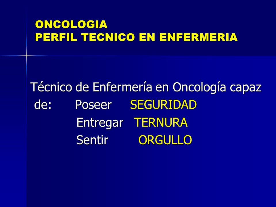 ONCOLOGIA PERFIL TECNICO EN ENFERMERIA Técnico de Enfermería en Oncología capaz de: Poseer SEGURIDAD de: Poseer SEGURIDAD Entregar TERNURA Entregar TE