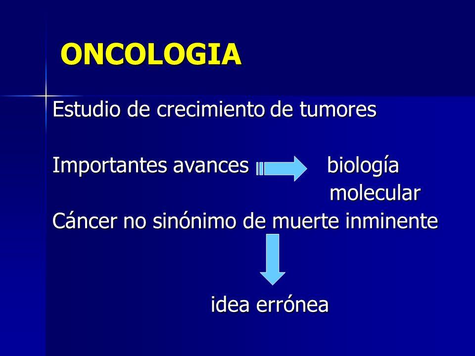 ONCOLOGIA Estudio de crecimiento de tumores Importantes avances biología molecular molecular Cáncer no sinónimo de muerte inminente idea errónea idea