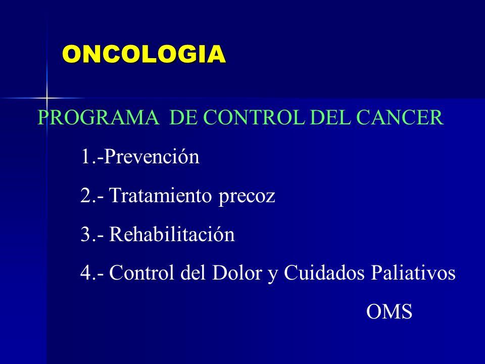 ONCOLOGIA PROGRAMA DE CONTROL DEL CANCER 1.-Prevención 2.- Tratamiento precoz 3.- Rehabilitación 4.- Control del Dolor y Cuidados Paliativos OMS