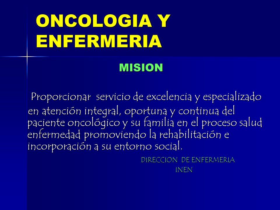 ONCOLOGIA Y ENFERMERIA MISION MISION Proporcionar servicio de excelencia y especializado Proporcionar servicio de excelencia y especializado en atenci
