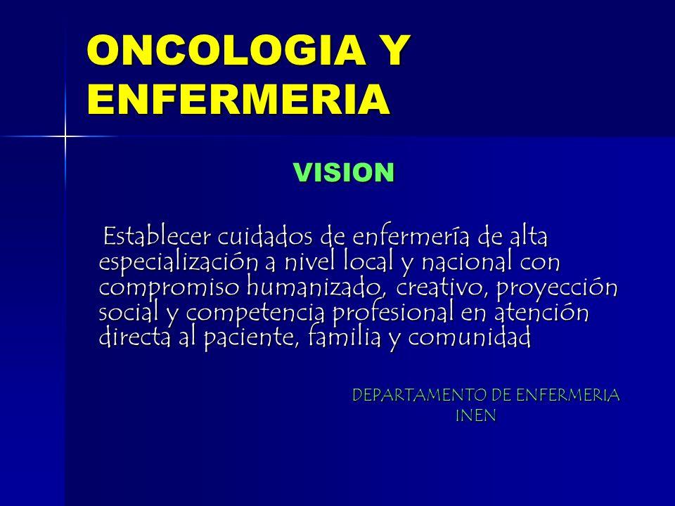 ONCOLOGIA Y ENFERMERIA VISION VISION Establecer cuidados de enfermería de alta especialización a nivel local y nacional con compromiso humanizado, cre