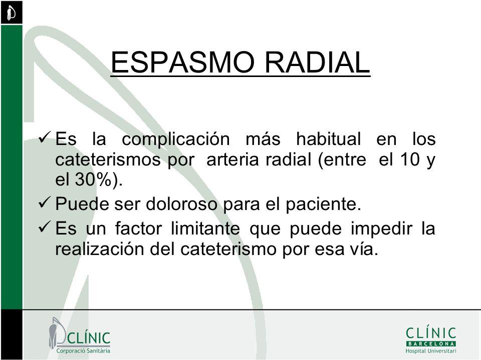 ESPASMO RADIAL Es la complicación más habitual en los cateterismos por arteria radial (entre el 10 y el 30%). Puede ser doloroso para el paciente. Es
