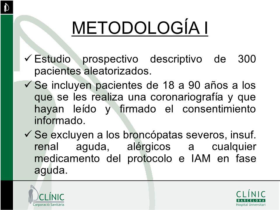 METODOLOGÍA I Estudio prospectivo descriptivo de 300 pacientes aleatorizados. Se incluyen pacientes de 18 a 90 años a los que se les realiza una coron