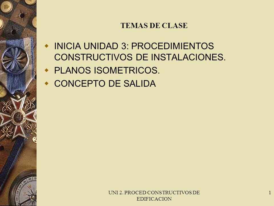 UNI 2. PROCED CONSTRUCTIVOS DE EDIFICACION 1 TEMAS DE CLASE INICIA UNIDAD 3: PROCEDIMIENTOS CONSTRUCTIVOS DE INSTALACIONES. PLANOS ISOMETRICOS. CONCEP
