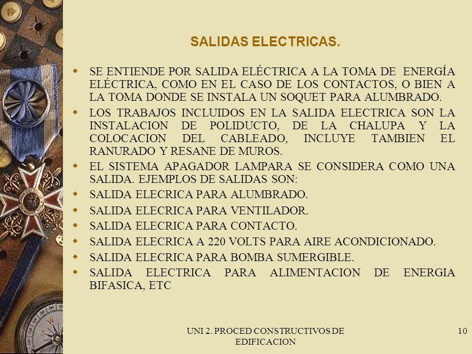 UNI 2. PROCED CONSTRUCTIVOS DE EDIFICACION 10 SALIDAS ELECTRICAS. SE ENTIENDE POR SALIDA ELÉCTRICA A LA TOMA DE ENERGÍA ELÉCTRICA, COMO EN EL CASO DE