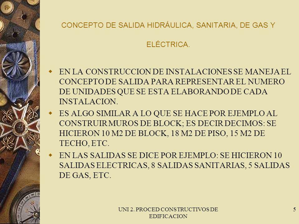 UNI 2. PROCED CONSTRUCTIVOS DE EDIFICACION 5 CONCEPTO DE SALIDA HIDRÁULICA, SANITARIA, DE GAS Y ELÉCTRICA. EN LA CONSTRUCCION DE INSTALACIONES SE MANE