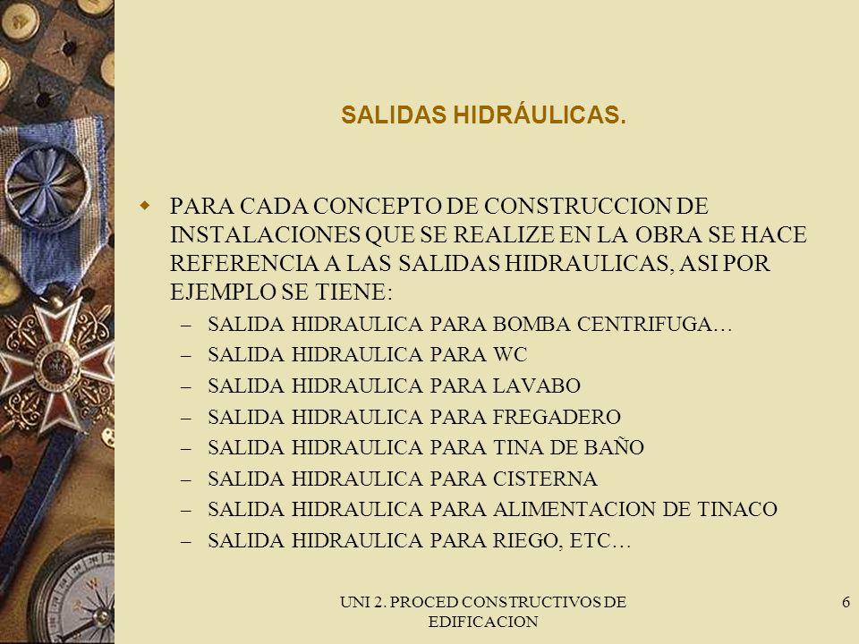 UNI 2. PROCED CONSTRUCTIVOS DE EDIFICACION 6 SALIDAS HIDRÁULICAS. PARA CADA CONCEPTO DE CONSTRUCCION DE INSTALACIONES QUE SE REALIZE EN LA OBRA SE HAC