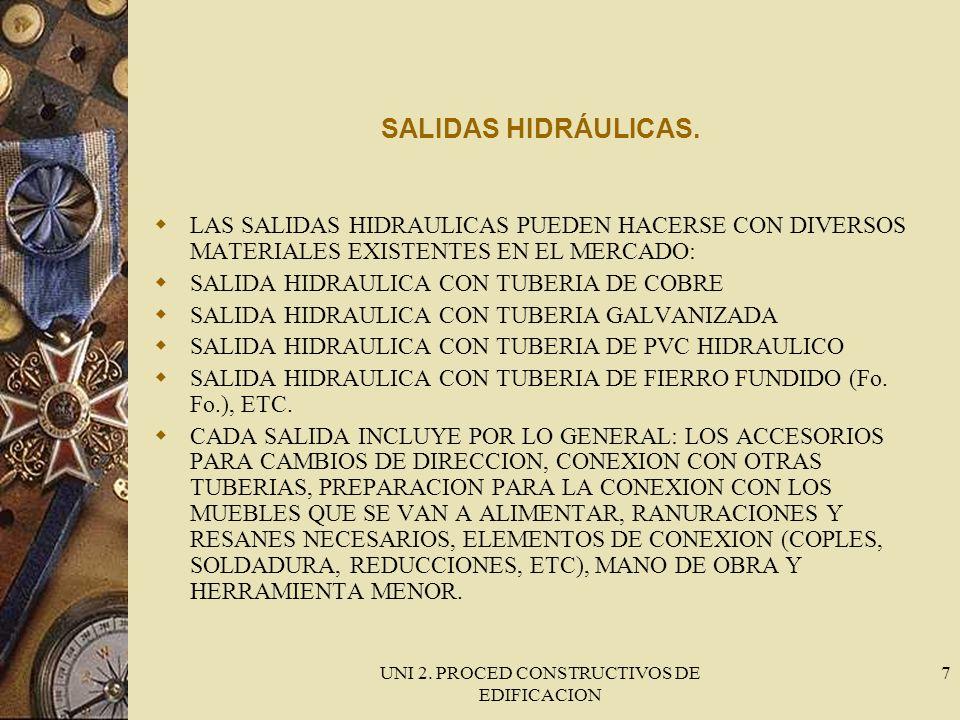 UNI 2. PROCED CONSTRUCTIVOS DE EDIFICACION 7 SALIDAS HIDRÁULICAS. LAS SALIDAS HIDRAULICAS PUEDEN HACERSE CON DIVERSOS MATERIALES EXISTENTES EN EL MERC