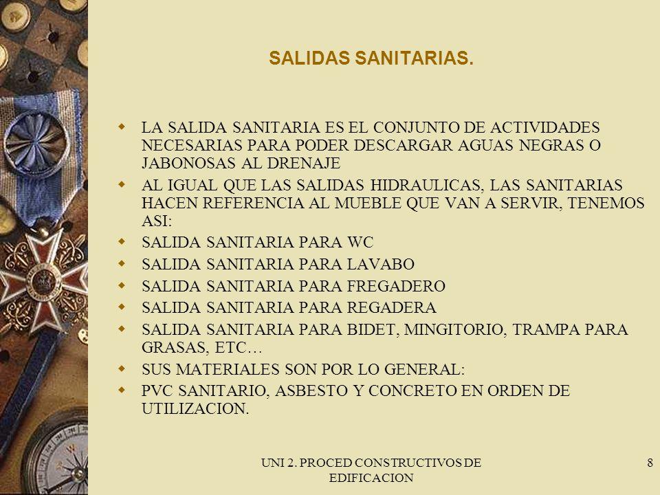 UNI 2. PROCED CONSTRUCTIVOS DE EDIFICACION 8 SALIDAS SANITARIAS. LA SALIDA SANITARIA ES EL CONJUNTO DE ACTIVIDADES NECESARIAS PARA PODER DESCARGAR AGU