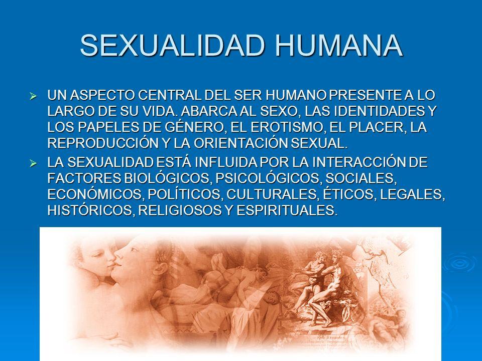 SEXUALIDAD HUMANA UN ASPECTO CENTRAL DEL SER HUMANO PRESENTE A LO LARGO DE SU VIDA. ABARCA AL SEXO, LAS IDENTIDADES Y LOS PAPELES DE GÉNERO, EL EROTIS