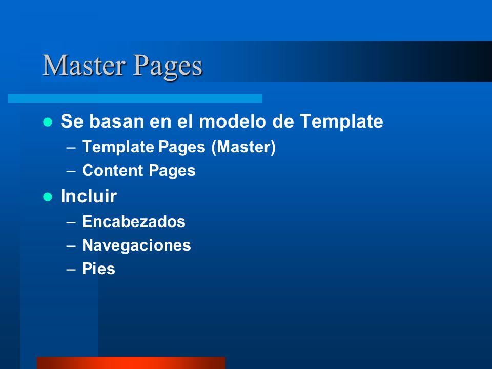 Master Pages Se basan en el modelo de Template –Template Pages (Master) –Content Pages Incluir –Encabezados –Navegaciones –Pies