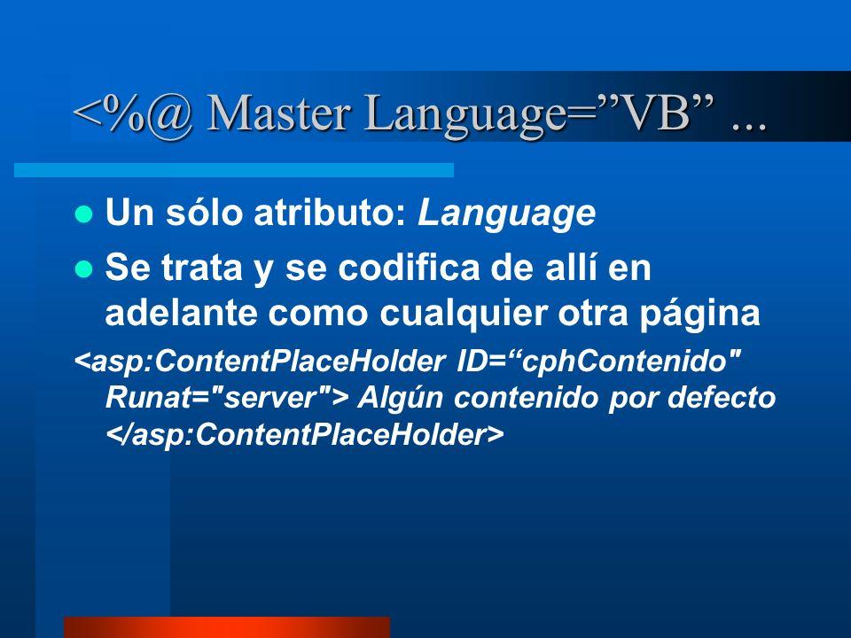 <%@ Master Language=VB... Un sólo atributo: Language Se trata y se codifica de allí en adelante como cualquier otra página Algún contenido por defecto