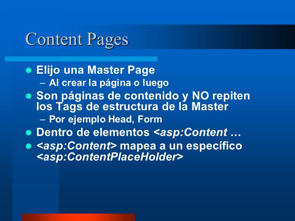 Content Pages Elijo una Master Page –Al crear la página o luego Son páginas de contenido y NO repiten los Tags de estructura de la Master –Por ejemplo