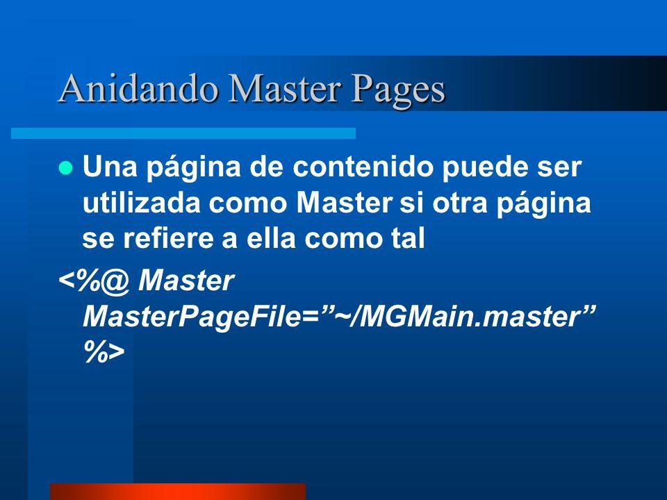 Anidando Master Pages Una página de contenido puede ser utilizada como Master si otra página se refiere a ella como tal