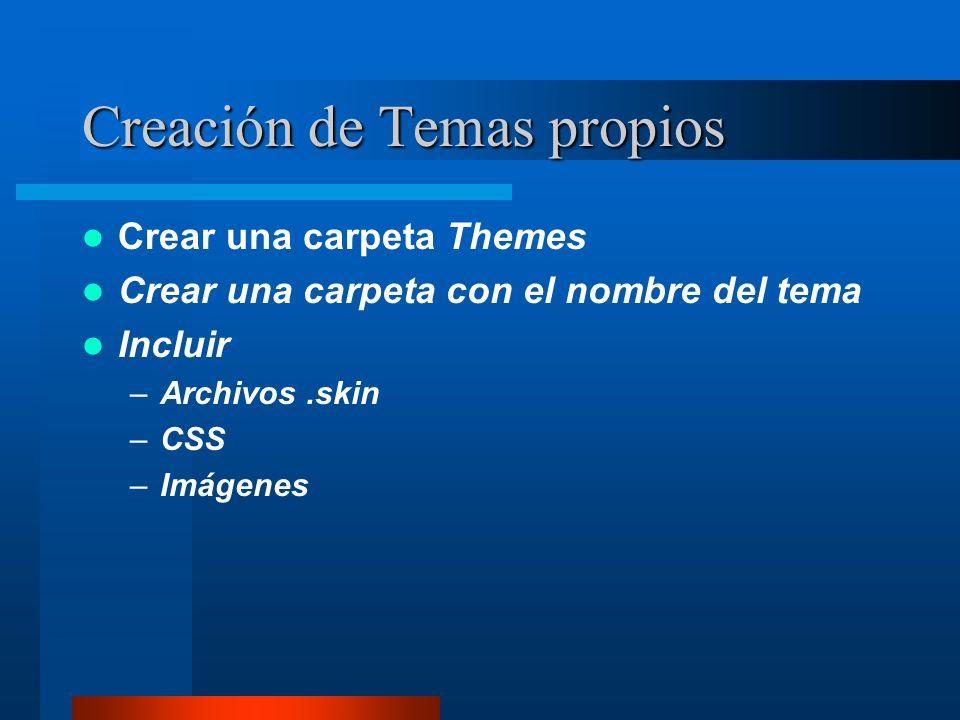 Creación de Temas propios Crear una carpeta Themes Crear una carpeta con el nombre del tema Incluir –Archivos.skin –CSS –Imágenes