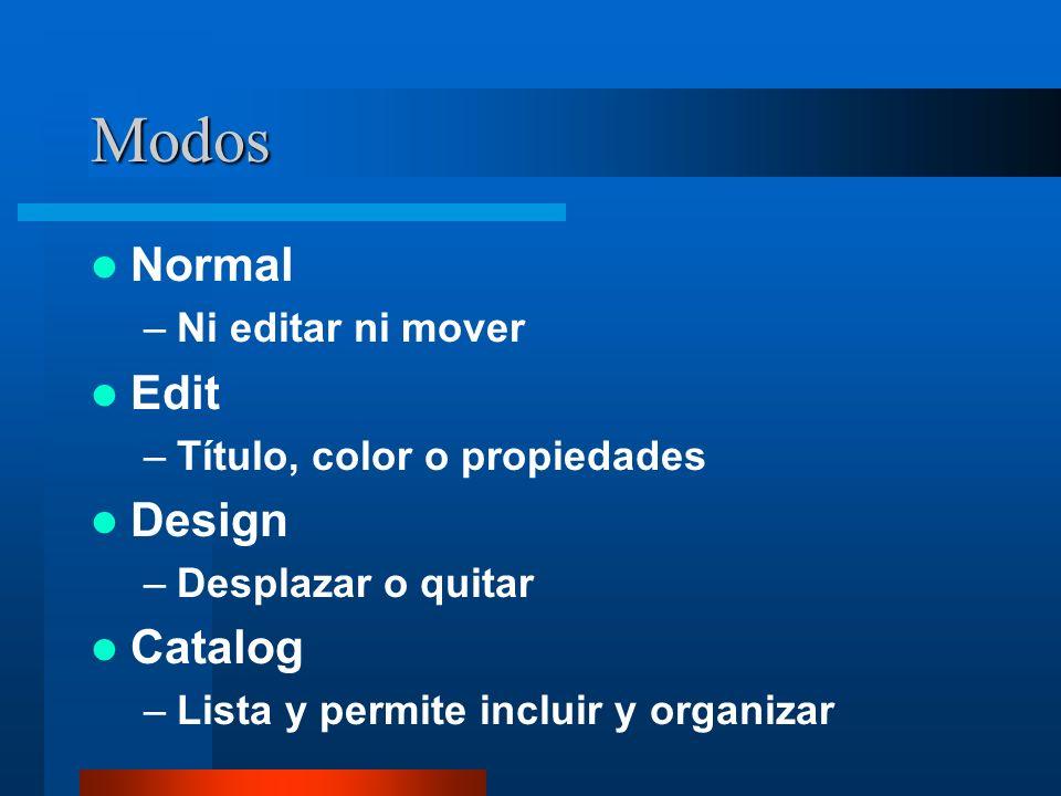 Modos Normal –Ni editar ni mover Edit –Título, color o propiedades Design –Desplazar o quitar Catalog –Lista y permite incluir y organizar