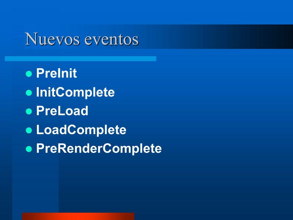 Nuevos eventos PreInit InitComplete PreLoad LoadComplete PreRenderComplete