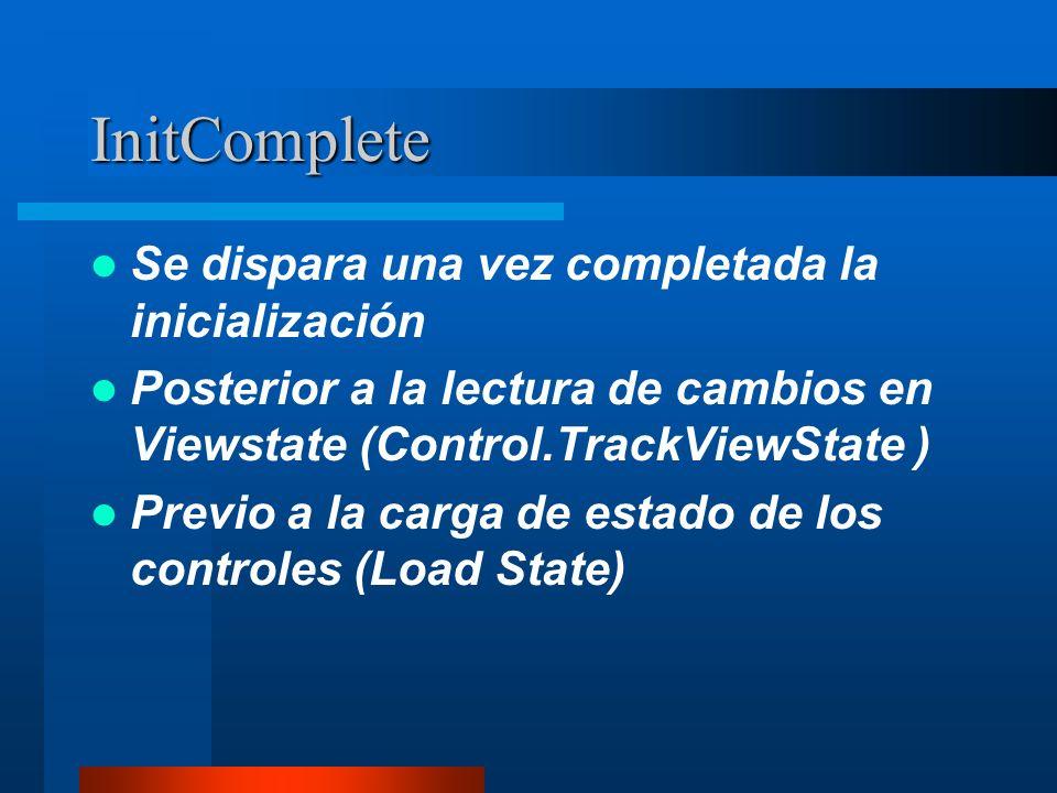 InitComplete Se dispara una vez completada la inicialización Posterior a la lectura de cambios en Viewstate (Control.TrackViewState ) Previo a la carg