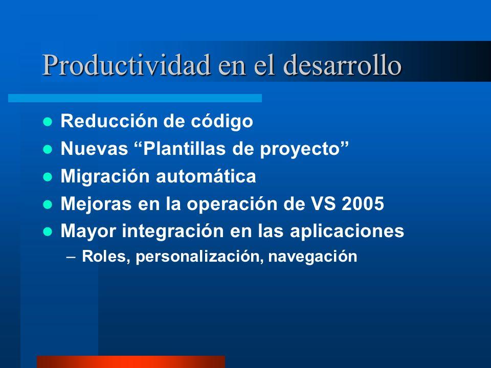 Productividad en el desarrollo Reducción de código Nuevas Plantillas de proyecto Migración automática Mejoras en la operación de VS 2005 Mayor integra