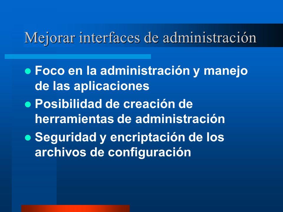 Mejorar interfaces de administración Foco en la administración y manejo de las aplicaciones Posibilidad de creación de herramientas de administración