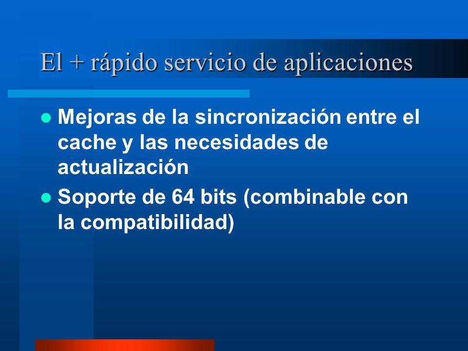 El + rápido servicio de aplicaciones Mejoras de la sincronización entre el cache y las necesidades de actualización Soporte de 64 bits (combinable con