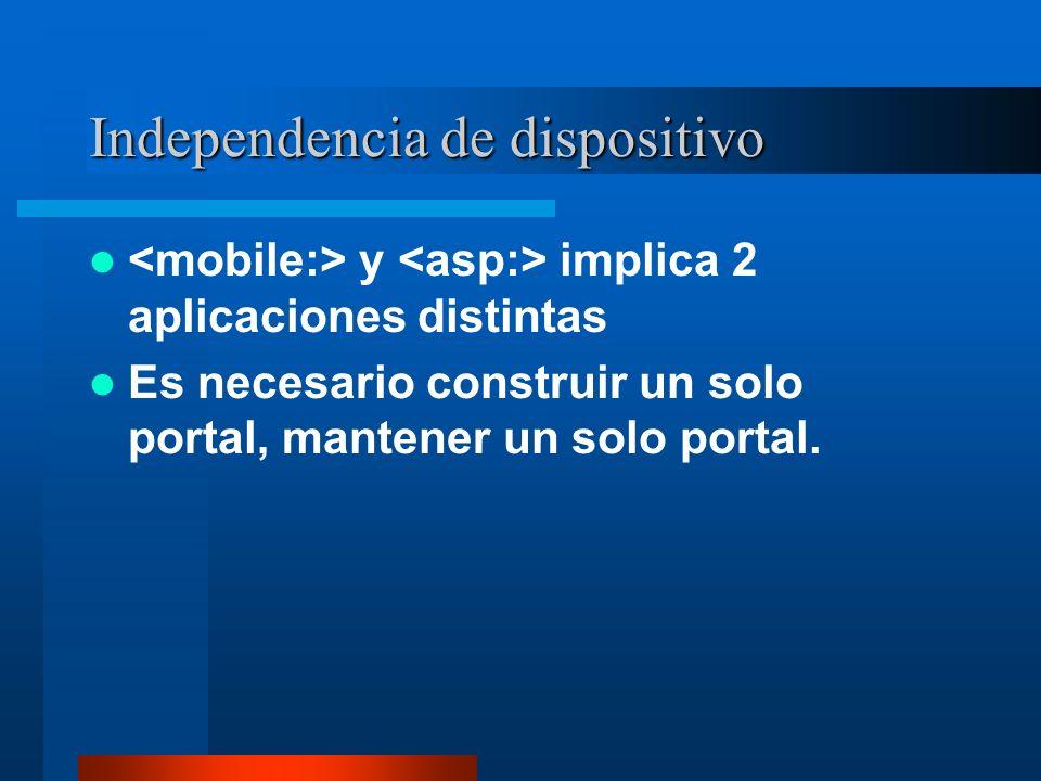 Independencia de dispositivo y implica 2 aplicaciones distintas Es necesario construir un solo portal, mantener un solo portal.
