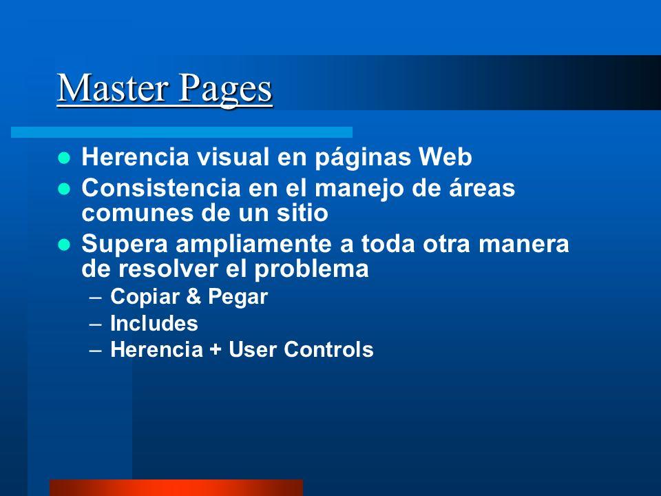 Master Pages Herencia visual en páginas Web Consistencia en el manejo de áreas comunes de un sitio Supera ampliamente a toda otra manera de resolver e