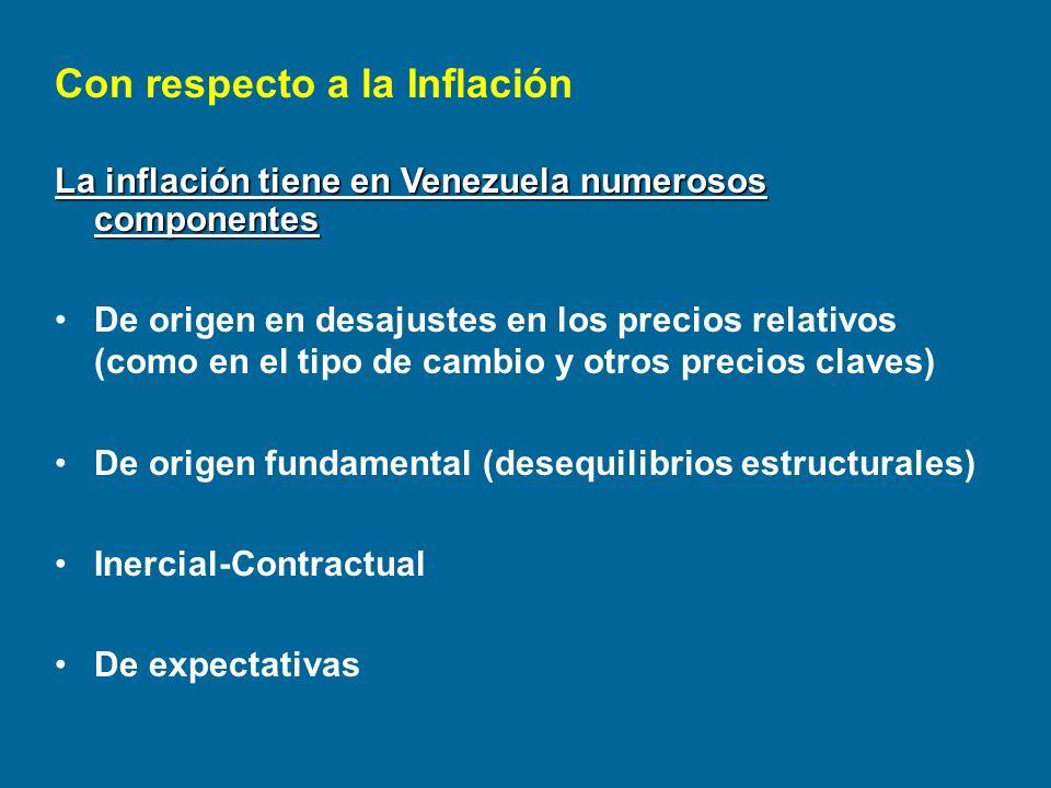 La inflación tiene en Venezuela numerosos componentes De origen en desajustes en los precios relativos (como en el tipo de cambio y otros precios clav