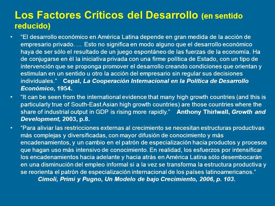 Los Factores Críticos del Desarrollo (en sentido reducido) El desarrollo económico en América Latina depende en gran medida de la acción de empresario