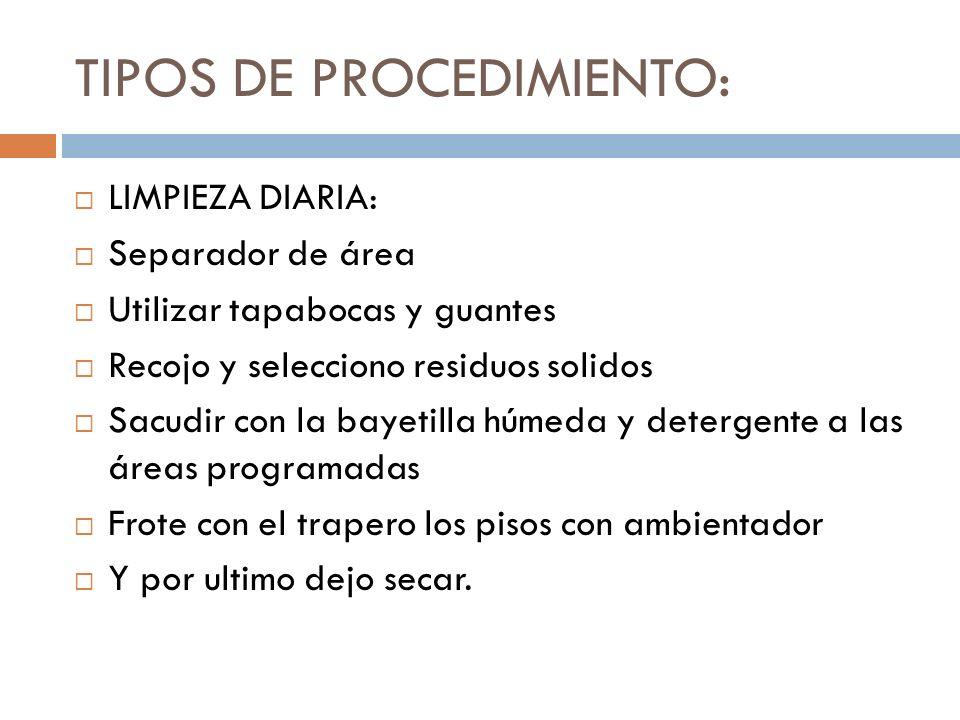 TIPOS DE PROCEDIMIENTO: LIMPIEZA DIARIA: Separador de área Utilizar tapabocas y guantes Recojo y selecciono residuos solidos Sacudir con la bayetilla