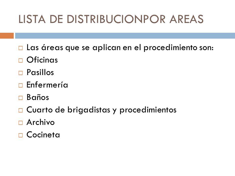 LISTA DE DISTRIBUCIONPOR AREAS Las áreas que se aplican en el procedimiento son: Oficinas Pasillos Enfermería Baños Cuarto de brigadistas y procedimie
