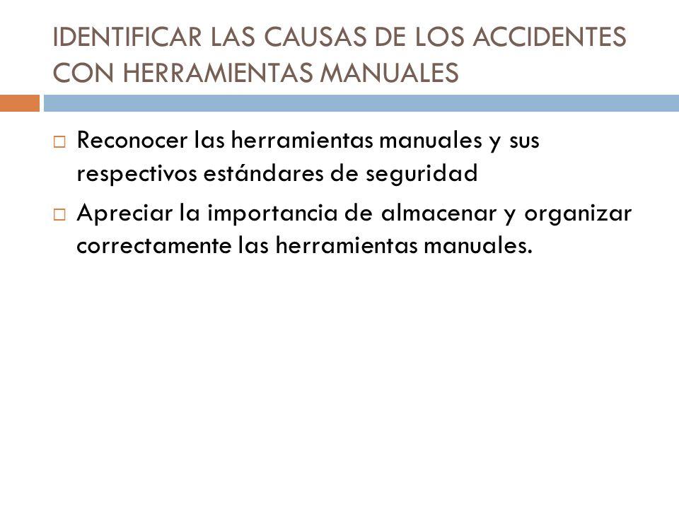 IDENTIFICAR LAS CAUSAS DE LOS ACCIDENTES CON HERRAMIENTAS MANUALES Reconocer las herramientas manuales y sus respectivos estándares de seguridad Aprec