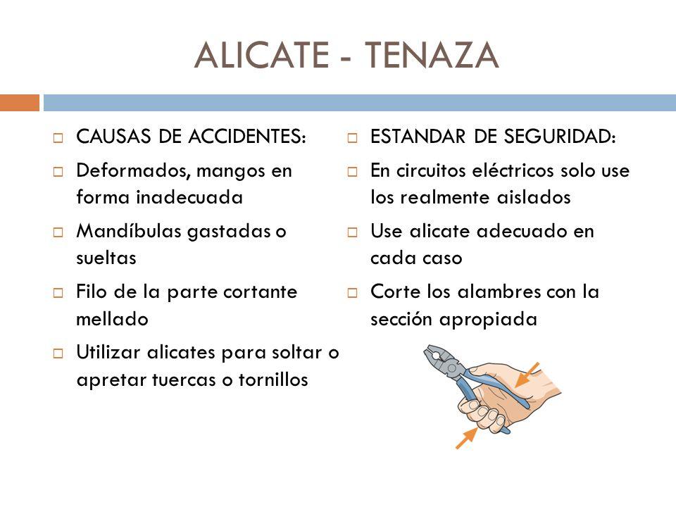 ALICATE - TENAZA CAUSAS DE ACCIDENTES: Deformados, mangos en forma inadecuada Mandíbulas gastadas o sueltas Filo de la parte cortante mellado Utilizar