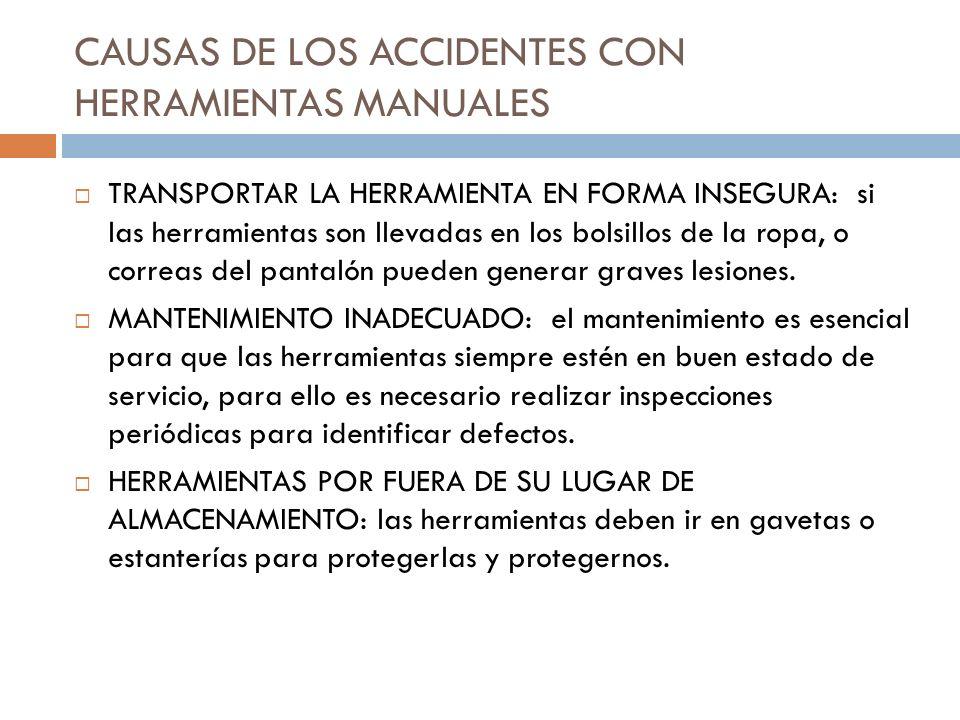 CAUSAS DE LOS ACCIDENTES CON HERRAMIENTAS MANUALES TRANSPORTAR LA HERRAMIENTA EN FORMA INSEGURA: si las herramientas son llevadas en los bolsillos de