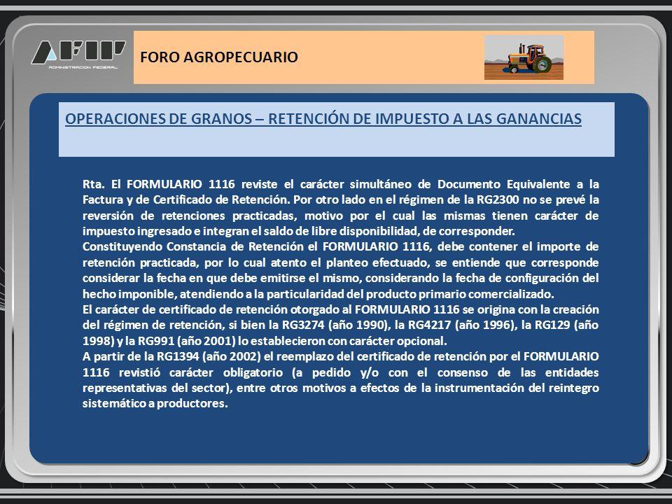 OPERACIONES DE GRANOS – MEDIOS DE PAGO FORO AGROPECUARIO Medios de pago: Caso de pago a un tercero en lugar de al propio vendedor.