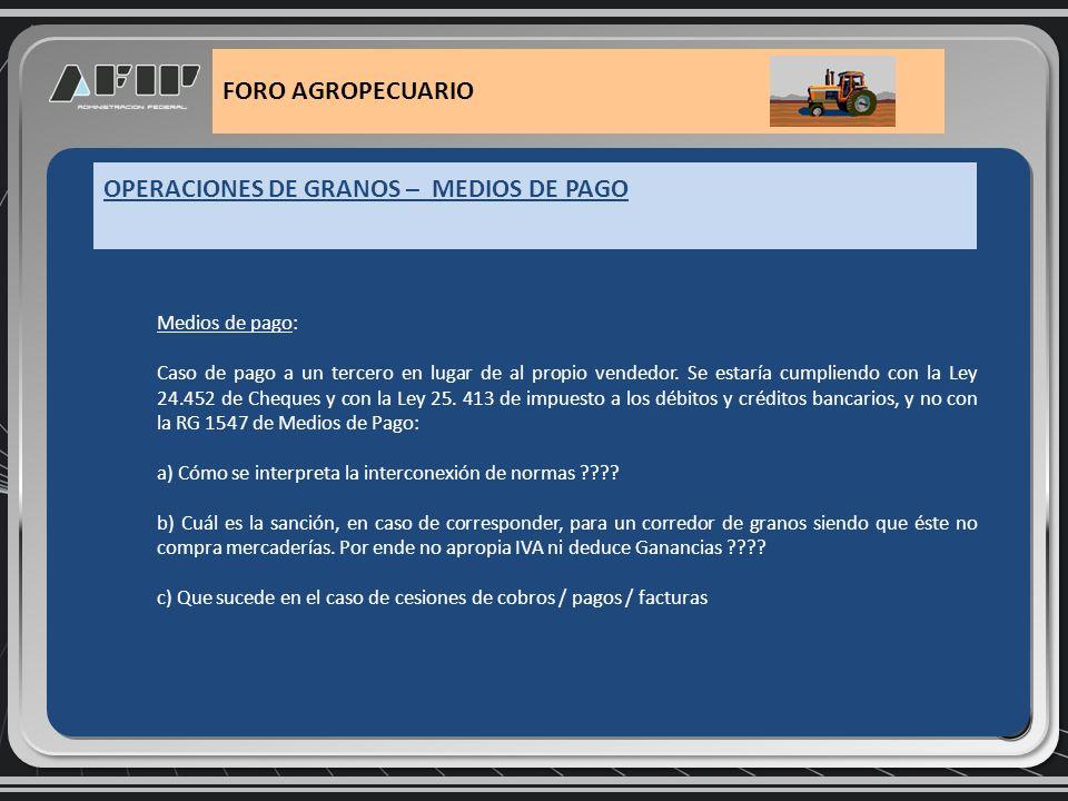 OPERACIONES DE GRANOS – MEDIOS DE PAGO FORO AGROPECUARIO Ley 25413 - art 1º inc.