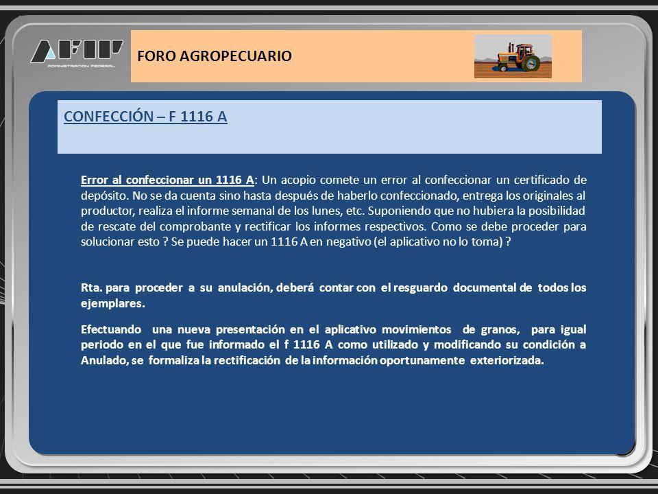 1116 B/C parcial que no se cumple con la entrega de la mercadería comprometida: Un operador confecciona una liquidación 1116 B/C Parcial que luego el productor no entrega por variados motivos justificables.