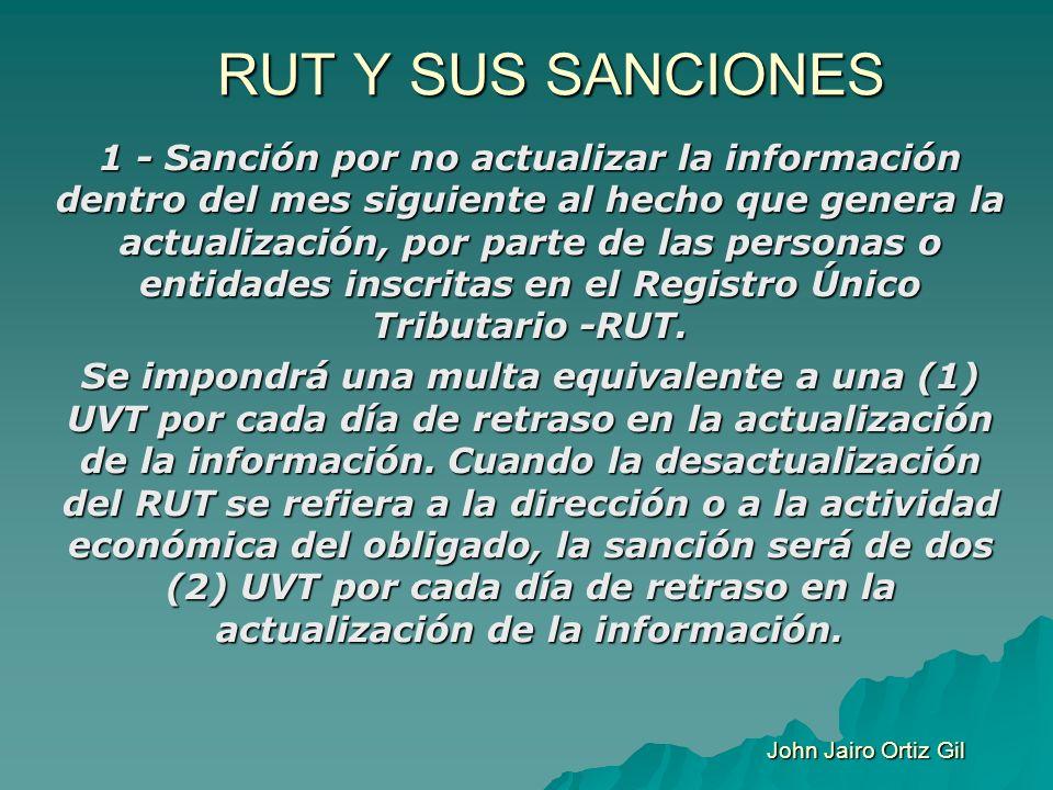 RUT Y SUS SANCIONES 1 - Sanción por no actualizar la información dentro del mes siguiente al hecho que genera la actualización, por parte de las perso