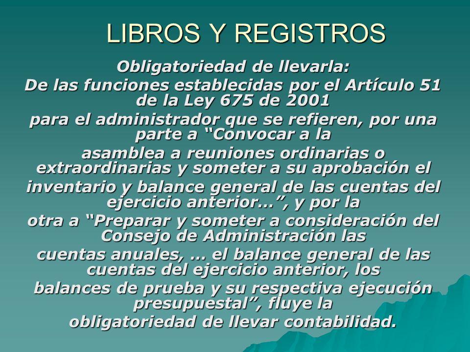 LIBROS Y REGISTROS Obligatoriedad de llevarla: De las funciones establecidas por el Artículo 51 de la Ley 675 de 2001 para el administrador que se ref