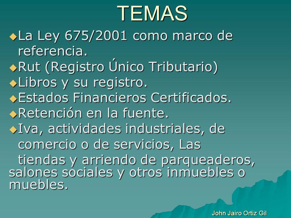 TEMAS La Ley 675/2001 como marco de La Ley 675/2001 como marco de referencia. referencia. Rut (Registro Único Tributario) Rut (Registro Único Tributar